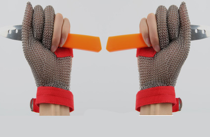 3101-Three Finger Wrist ring mesh Glove With Textile strap