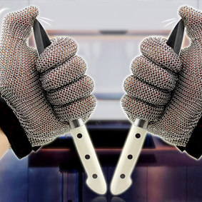 5301 Ring Mesh Gloves with Silicone Rubber Strap Full Hand Protection