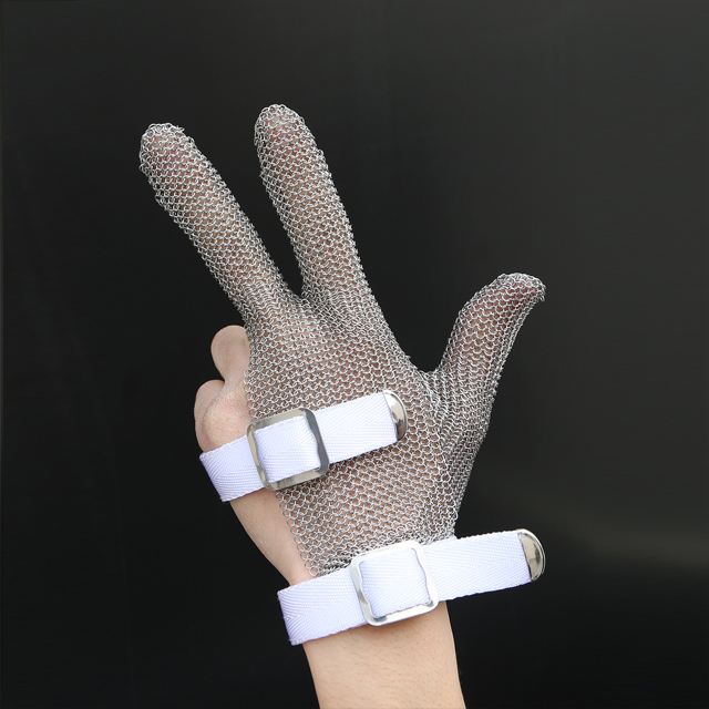 MK3101-Three Finger Wrist ring mesh Glove With Textile strap