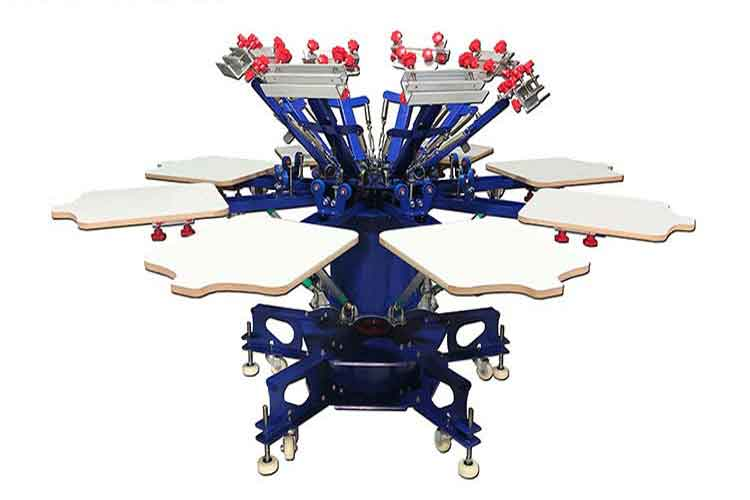 MK-E882L floor type 8 color 8 station double wheel screen printing machine