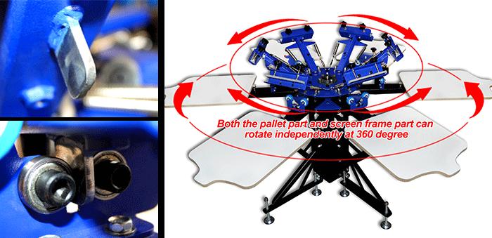 MK-F662B floor type 6 color 6 station double wheel screen printing machine